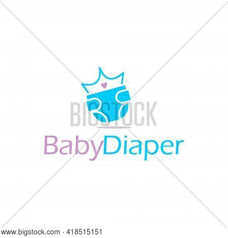 Baby Pants Or Diaper Logo. Graphic Design Template Cute Cartoon Vector For Healthcare Product Sticke