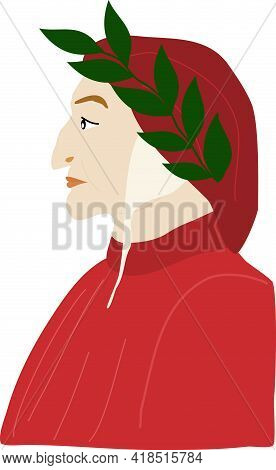 Famous Dante Alighieri Poet Portrait Illustration Image