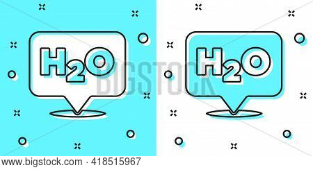 Black Line Chemical Formula For Water Drops H2o Shaped Icon Isolated On Green And White Background.