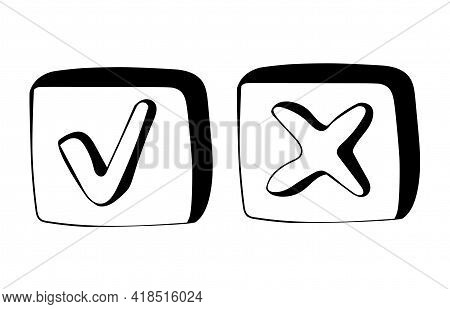 Hand Drawn Check Mark And Cross Signs In Doodle Style. Check Signs Sketch, Voting Agree Checklist Ma