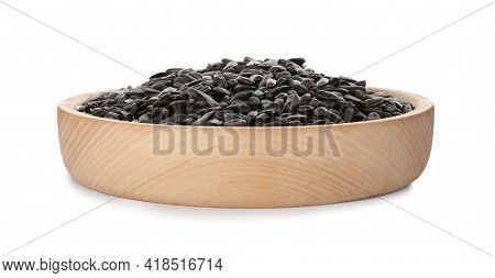 Plate Of Sunflower Seeds Isolated On White