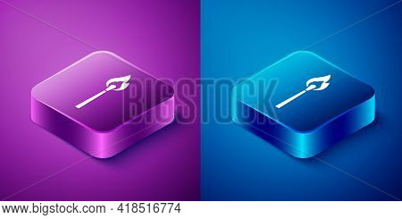 Isometric Burning Match With Fire Icon Isolated On Blue And Purple Background. Match With Fire. Matc