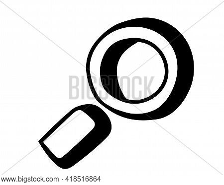 Hand Drawn Search Icon In Doodle Style. Vector Magnifier Or Loupe Sign. Isolated On White Background