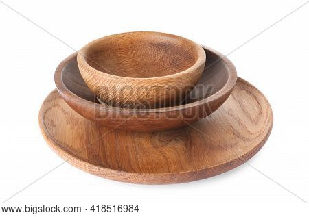 Empty Clean Wooden Dishware Isolated On White
