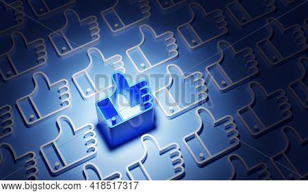 Network of ok like social media hand icon symbol. 3D render