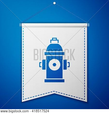 Blue Fire Hydrant Icon Isolated On Blue Background. White Pennant Template. Vector