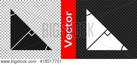 Black Angle Bisector Of A Triangle Icon Isolated On Transparent Background. Vector