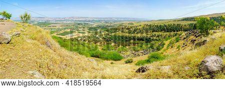 Menahamiya, Israel - April 21, 2021: Panoramic View Of The Sea Of Galilee And The Lower Jordan River