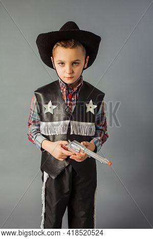 The Little Boy In A Sheriffs Costume Full Length