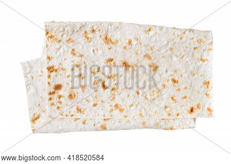 Thin Pita Bread Isolated On White Background. Lavash - Tasty Hearty Healthy Armenian And Turkish Unl