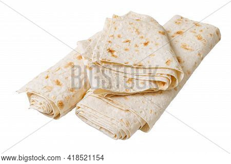 Lavash - Tasty Hearty Healthy Armenian And Turkish Unleavened Flat Bread. Thin Pita Bread Isolated O