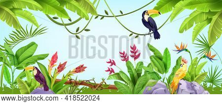 Summer Jungle Frame, Tropical Nature Bird Background, Parrot, Toucan, Banana And Palm Leaves, Liana.