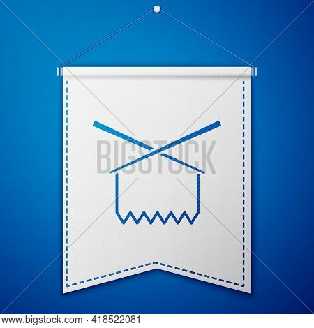 Blue Knitting Needles Icon Isolated On Blue Background. Label For Hand Made, Knitting Or Tailor Shop