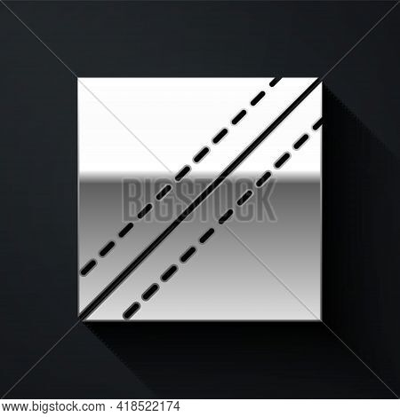 Silver Textile Fabric Roll Icon Isolated On Black Background. Roll, Mat, Rug, Cloth, Carpet Or Paper