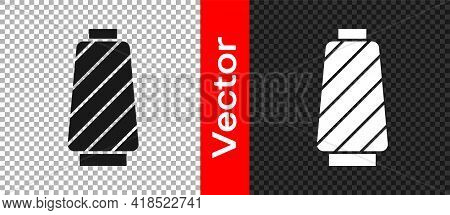 Black Sewing Thread On Spool Icon Isolated On Transparent Background. Yarn Spool. Thread Bobbin. Vec