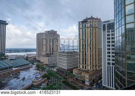 New Orleans, La  - October 27: Storm Clouds Approach Downtown And The Mississippi River On October 2