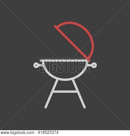 Grill Barbeque Cookout Vector Icon On Dark Background. Graph Symbol For Cooking Web Site And Apps De
