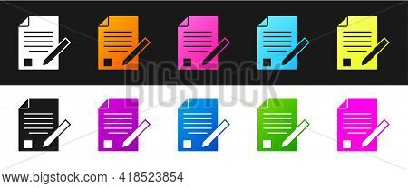 Set Exam Sheet And Pencil With Eraser Icon Isolated On Black And White Background. Test Paper, Exam,