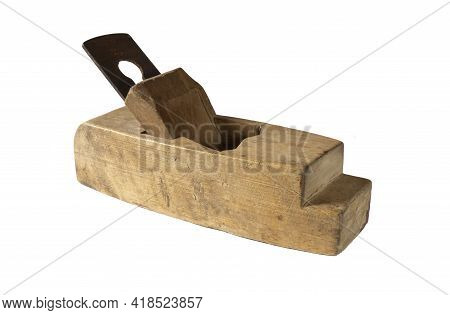 Wooden Plane For Wood Processing By A Joiner. Old Carpenter's Tool Isolated On White Background