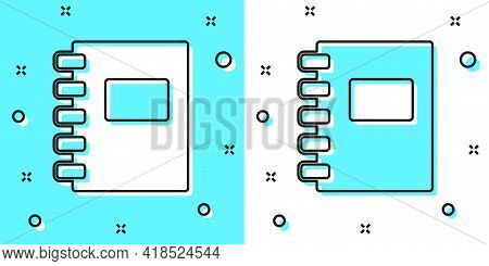 Black Line Notebook Icon Isolated On Green And White Background. Spiral Notepad Icon. School Noteboo