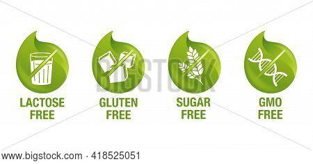 Lactose Free 3d Green Pictograms, Sugar Free, Gluten Free, Gmo Free - Set Of Food Packaging Decorati