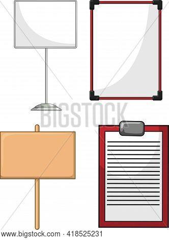 Information Board Whiteboard Wood Plank Cartoon Vector Drawing