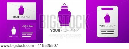 Logotype Funeral Urn Icon Isolated On White Background. Cremation And Burial Containers, Columbarium