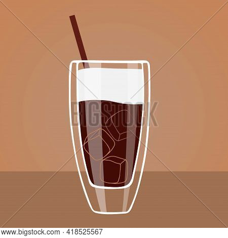 Summer Drink. Iced Coffee In High Glass With Cream On Table Isolated. Flat Cartoon Vector Illustrati