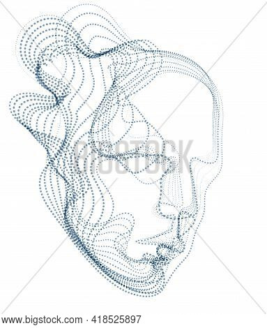 Digital Soul Of Machine, Artificial Intelligence Software Visualization Of Human Head Made Of Dotted