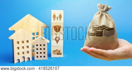 Money Bag, Residential Buildings And Blocks With The Attributes Of Life. Criteria For Choosing A Res