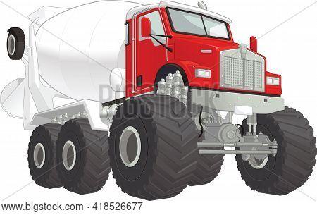 Monster Truck Cement Mixer Car Cartoon Vector Illustration Drawing