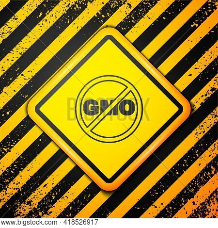 Black No Gmo Icon Isolated On Yellow Background. Genetically Modified Organism Acronym. Dna Food Mod