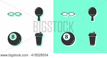 Set Fitness Shaker, Glasses For Swimming, Billiard Pool Snooker Ball And Racket Playing Table Tennis