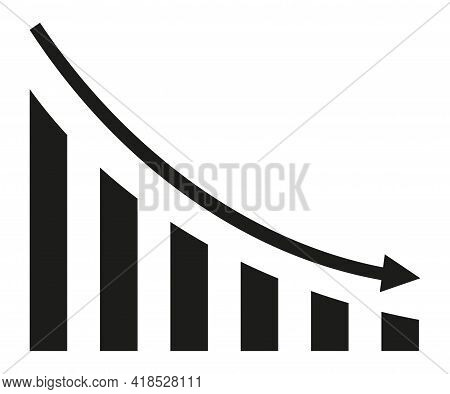 Graph With Decrease Report. Diagram With Recession And Bankruptcy Progress. Business And Finance Vec