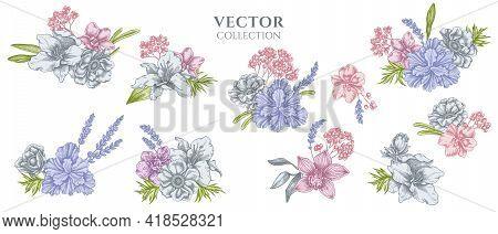 Flower Bouquet Of Pastel Anemone, Lavender, Rosemary Everlasting, Phalaenopsis, Lily, Iris Stock Ill