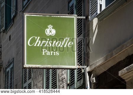 BAYONNE, FRANCE - CIRCA APRIL 2021: Christofle sign oustside shop. Christofle is a French goldsmith and tableware company.