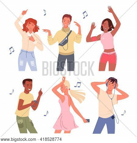 Cartoon Young Happy Man And Woman Group Of Dancer Characters Listen To Music With Headphones And Dan