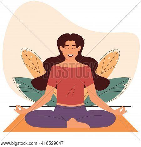 Calm Smiling Woman Sitting Lotus Position.yoga Meditation Practice. Vector Illustration
