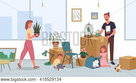 Happy Family Relocate, Moving To New House Or Home Apartment Vector Illustration. Cartoon Father, Mo