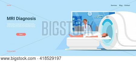 Mri Diagnostic In Hospital, Doctor Man Looking At Diagnosis Result Of Woman Patient Scan