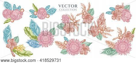 Flower Bouquet Of Pastel Banana Palm Leaves, Hibiscus, Solanum, Bromeliad, Peacock Feathers, Protea