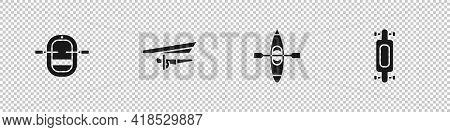 Set Rafting Boat, Hang Glider, Kayak Or Canoe And Longboard Skateboard Icon. Vector