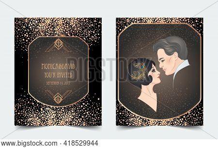 Beautiful Couple In Art Deco Style. Retro Fashion: Glamour Man And Woman Of Twenties. Vector Illustr