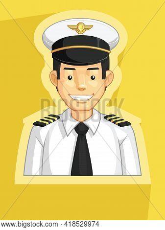 Mascot Pilot Air Force Officer Profile Avatar Cartoon Illustration