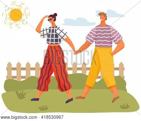 Happy Couple In Love Walking In Sunny Day. Tall Guy Spends Time With Pretty Girl Summertime. Outdoor