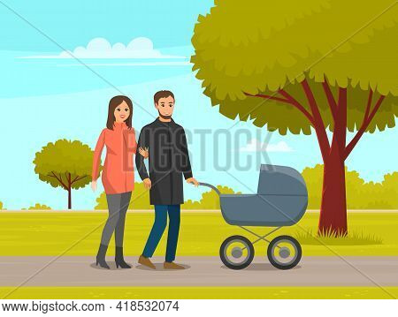 Young Parents Strolling In Park With Baby Stroller. Dad Rolls Stroller With Newborn, Wife Holds Arm