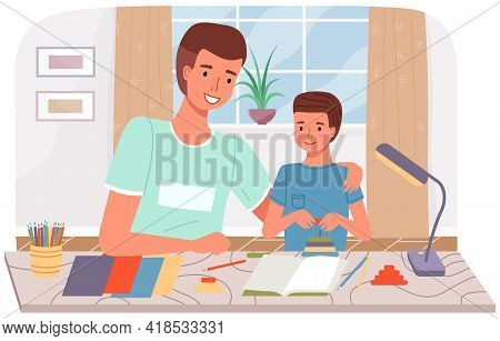 Diy Activity For Father And Son. Dad And Kid Spend Quality Time Together. Creative Family Pastime. F