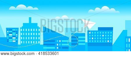 Airplane Is Flying Above Buildings, Cityscape, Art Style. Pattern Design Vector Illustration. Airpla