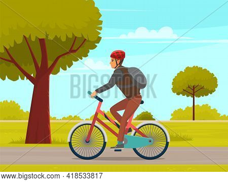 Guy In Helmet And Sportswear Riding In Forest. Man Rides Bicycle On Sandy Road. Male Character Doing