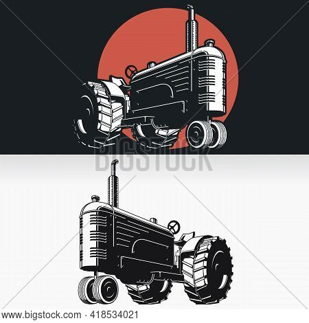 Silhouette Farm Tractor Vintage Stencil Isolated Vector Drawing
